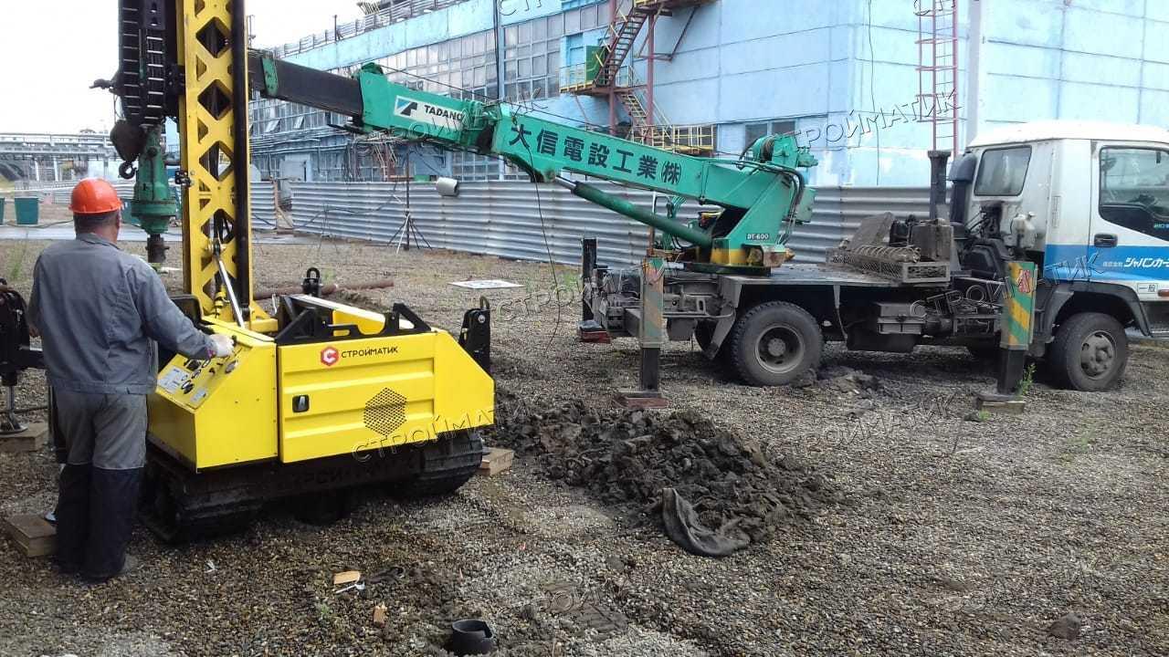 Фундамент на забивных ж/б сваях для устройства шпунтового ограждения из стальной трубы на производственной площадке в городе Томске от компании Стройматик