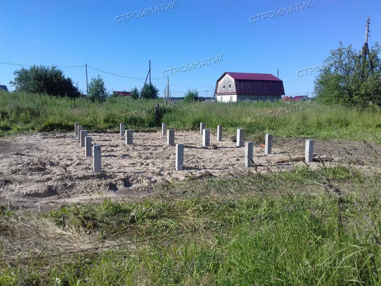Фундамент на забивных ж/б сваях с бетонным ростверком для дома из бруса в селе Поросино Томской области от компании Стройматик