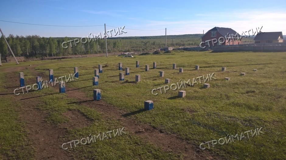 Фундамент на забивных ж/б сваях под одноэтажный дом из бруса в селе Сафроново Челябинской области от компании Стройматик