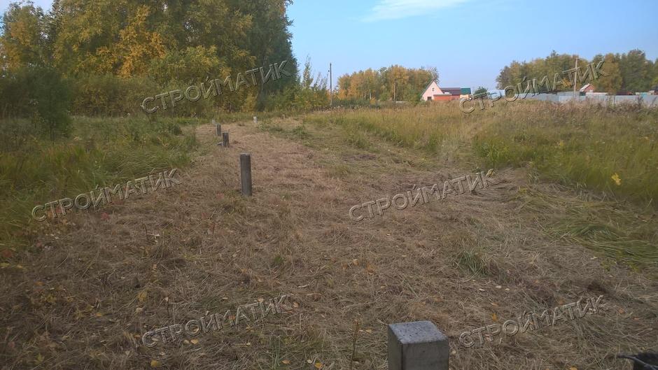 Фундамент на забивных ж/б сваях под ростверк для кирпичного забора в поселке Лазурный, Челябинск от компании Стройматик