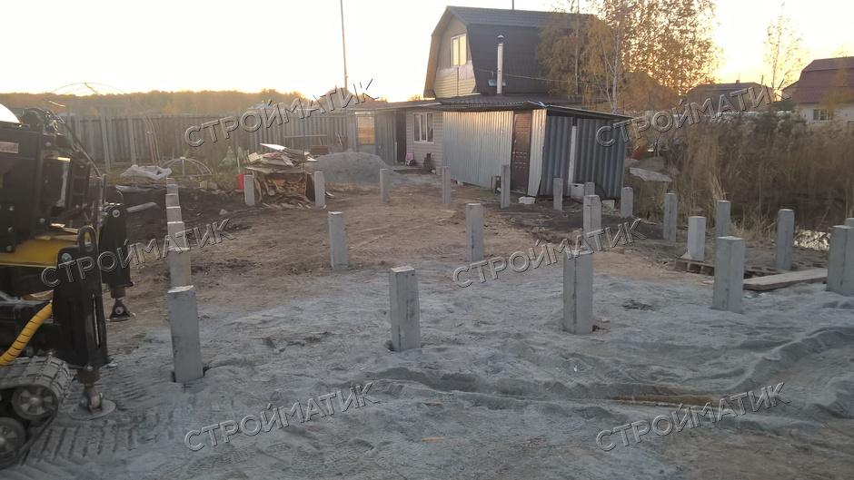 Фундамент на забивных ж/б сваях для дома из газобетона в СНТ Луч, Касарги, Челябинск от компании Стройматик