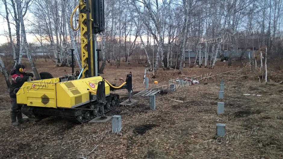 Фундамент на забивных ж/б сваях для каркасного дома в СНТ Железнодорожный, Челябинск от компании Стройматик