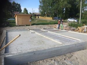 Плитно-ленточный фундамент для дома из бруса в Толбухино