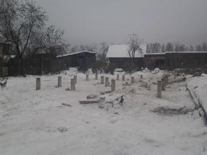 Фундамент для бани из бруса в деревне Исанино