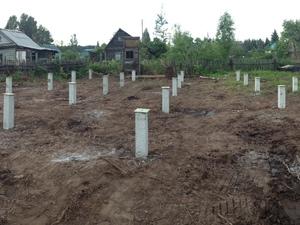 Фундамент для деревянного двухэтажного дома в деревне Захарищевы