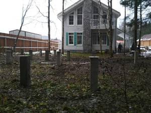 Фундамент для бани из бруса с террасой в деревне Гребеньки