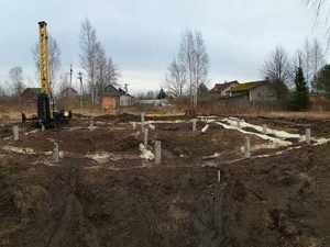Фундамент для каркасного дома в г/п Рахьинское, деревня Коккорево