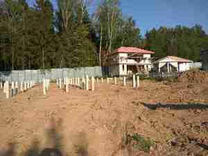 Фундамент на ж/б ваях для дома на склоне в Одинцово