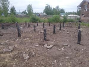 Фундамент для дома из бруса в деревне Бесовец
