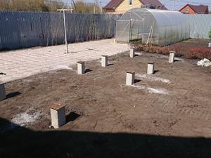 Фундамент для бани-бочки на забивных ж/б сваях