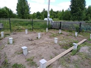 Фундамент для бани из бруса с террасой в поселке Родионово