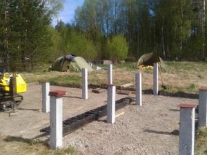 Фундамент для бани из бруса в поселке Глубокое (озеро Утиное)