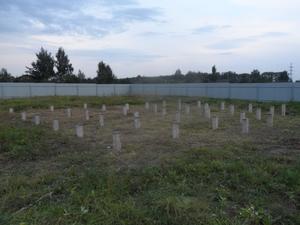 Фундамент на ж/б сваях для дома  в  д. Бекренёво Ярославской области