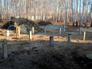 Фундамент для бани из оцилиндрованного бревна в поселке Песчаное озеро