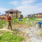 Фундамент на забивных ж/б сваях с бетонным ростверком для кирпичного дома в поселке Морской, Новосибирск от компании Стройматик