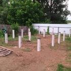 Фундамент на забивных ж/б сваях для бани из бруса с террасой в городе Новосибирск от компании Стройматик