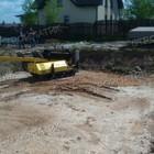 Фундамент для бани из бруса на забивных ж/б сваях в деревне Михайловская Ленинградской области от компании Стройматик